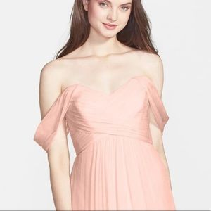 Amsale off the shoulder Crinkle Chiffon in Blush